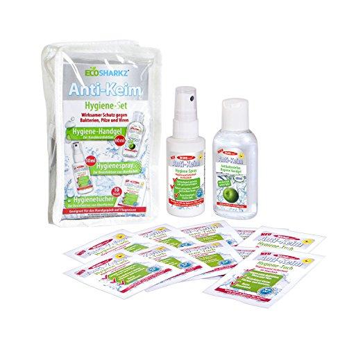 Desinfektionsmittel - Set von Ecosharkz - Desinfektionslösung, Desinfektionsgel und Desinfektionstücher für Camping und Reisen - Handdesinfektion und Flächendesinfektionsmittel für Flugreisen geeignet