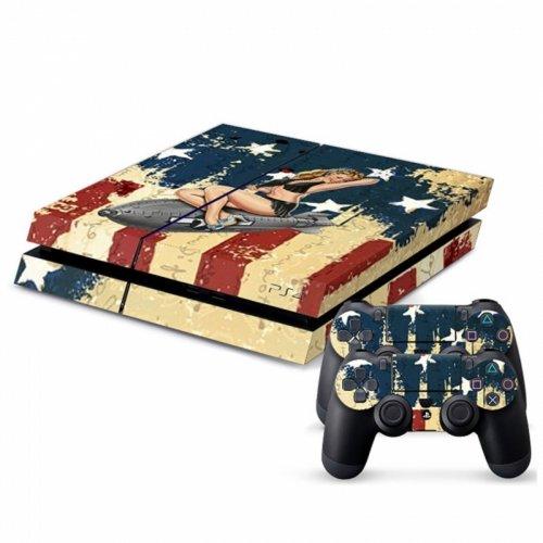 PS4Aufkleber USA Flag Girl