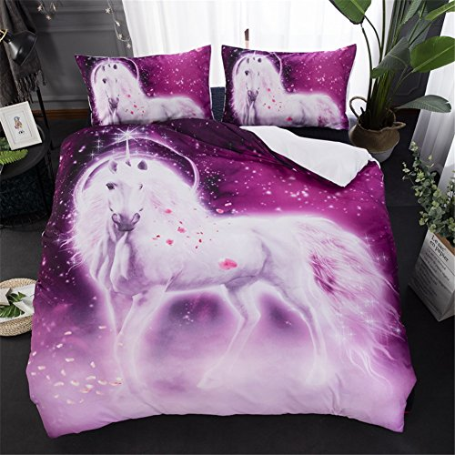 Onlyway Unicorn Duvet Cover Sets Printed Bedding Sets Soft Printed Bed Covers 3 pcs Cartoon Quilt Cover & Pillowcase for Kids Girls