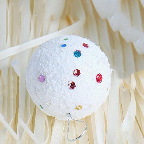 Decorazioni di Natale sei centimetri di paillettes bianco Schiuma palla di Natale pendente dell'albero di Natale (6 Pezzi / Bag) - Paillettes Palla Ornamento