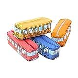 Zhi Jin 1pièce fantaisie Bus Trousse Sac avec animaux étui de rangement organiseur support pour brosse pour filles enfants école voyage Cadeau bleu