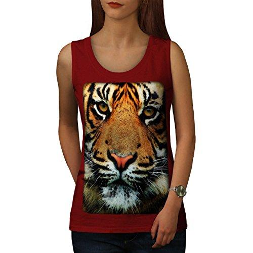 Tiger Gesicht Natur Tier Wild Leben Damen S-2XL Muskelshirt | Wellcoda Rot