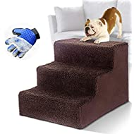 Masthome Dog Stairs with Pet Glove 3-Steps Pet Bed Ladder for Dogs and Cats Up to 50 lbs