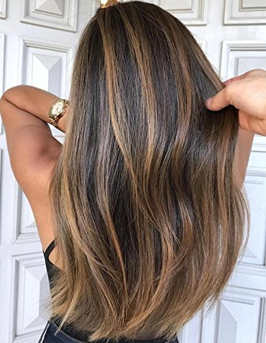 haar Wig Lace Front 130% Dichte Straight Hair Wig Human Hair Perücke Schokoladen Braun #4 Hervorgehoben mit Karamell Blonde #27 Echthaar Wig Lace Front ()