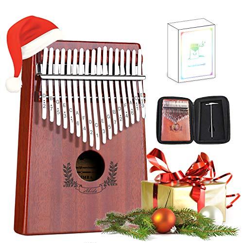 Abida Daumenklavier Kalimba mit 17 Tasten, Studienführer und Stimmhammer, tragbares Fingertastaturklavier mit wasserdichtem Gehäuse als Marimba-Musikgeschenk für Kinder, Erwachsene, Anfänger