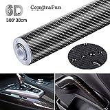 CompraFun 6D Pellicola Adesiva per Auto, 6D Fibra di Carbonio Rivestimento Adesivo Nero Car Sticker Wrapping Auto e Moto