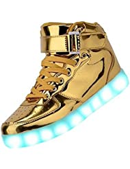 SAGUARO® Unisex Men Women USB Charging 7 Color Changing LED Lighted Luminous Couple Casual Sport Shoes High Top Flash Sneakers