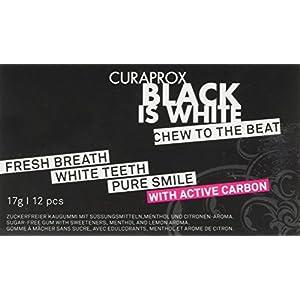 CURAPROX Black is White – schwarzer Zahnpflegekaugummi für weiße Zähne und einen frischen Atem, mit whitening effect der Aktivkohle, veganer Kaugummi
