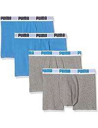 PUMA Caballero BASIC Boxershort Calzoncillos Pack de 4 en todos los colores - L, Algodón, gris/azul/gris/azul