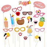 Tinksky Flamingo Hawaii sur le thème Summer Party Photo Booth les accessoires Kit DIY Luau partie fournitures pour vacances mariage Beach Party, paquet de 21