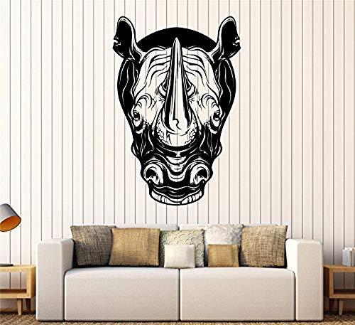 Vinyl Wall Decal Rhino Head Animal Tribal Art Rhinoceros Stickers Large Decor