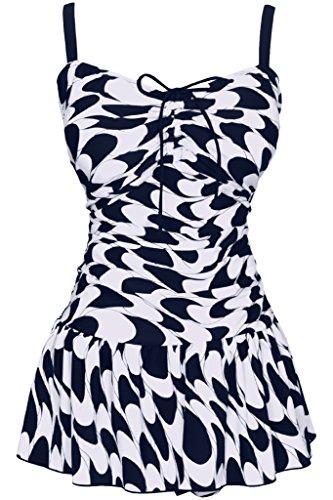 Damen Retro Paisley Badekleid Große Größen Einteiliger Badeanzug Bauchweg Bademode, Größe DE 52/Etikettengröße 64, Farbe Dunkelblau