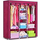 Anva 4.1 feet A3 Folding Wardrobe Cupboard Almirah Foldable Storage Rack Collapsible Cabinet