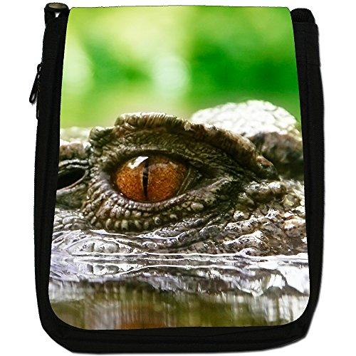 Coccodrilli & Alligatori-Borsa a tracolla in tela, colore: nero, taglia: M Close Up Of A Crocodile Eye