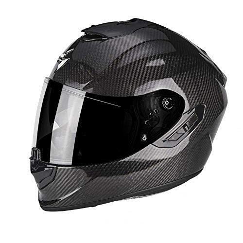 Scorpion Moto Casco Exo 1400Air Carbon Solid, color negro, tamaño XL