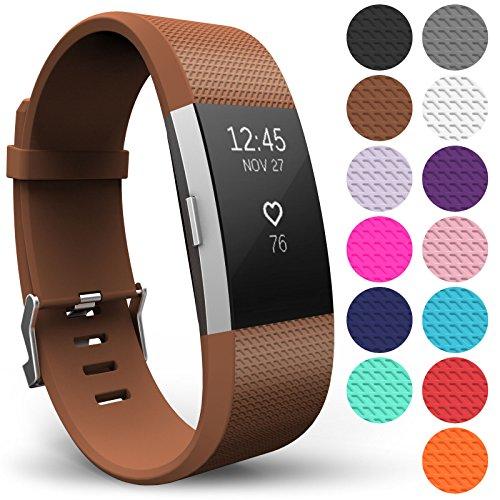 Yousave Accessories® Fitbit Charge 2 Armband, Ersatz Armband – Wristband erhältlich in 15 Farben – Klein, Braun
