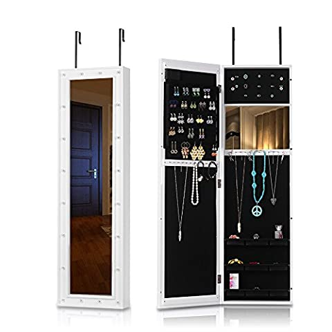 IKayaa Fashion Lampes à LED Suspension Bijoux Armoire Porte / Monture murale Cabinet Cabinet Mirrored Jewelry Box Box Organizer