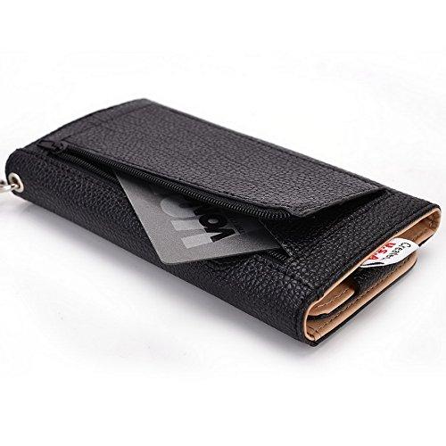 Kroo Pochette Téléphone universel Femme Portefeuille en cuir PU avec dragonne compatible avec protection d'écran Marathon M3/Pioneer P6 Multicolore - Violet/motif léopard noir - noir