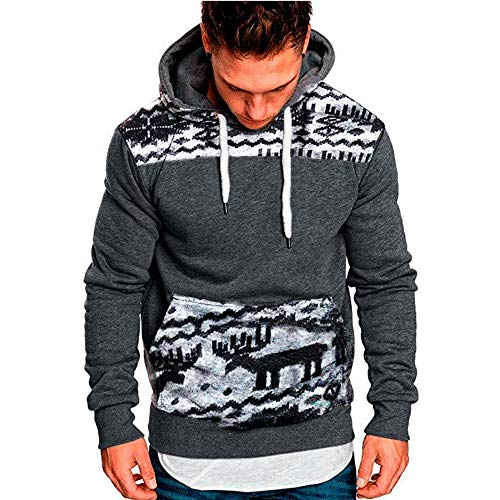 SANFASHION Männer Kängurutasche Hoodie Einfarbig Shirt Kordelzug Oberteile | Mit Kapuze Tops | Basic T-Shirt | Slim Fit Sweatshirt | Mode Elegante Langarmshirt Blusen
