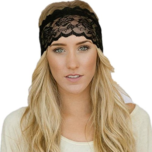 VENMO Damen Spitzen Sport Yoga Schweißband Gym Stretch Stirnband Haarband Stirnbänder Handgemachte Halten Baumwolle Gemischt Haarband Gestrickte Verdrehte Weiche Turban-Kopf-Verpackungs (Schwarz)