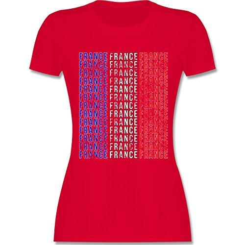 EM 2016 - Frankreich - France Vintage Typo - tailliertes Premium T-Shirt mit Rundhalsausschnitt für Damen Rot
