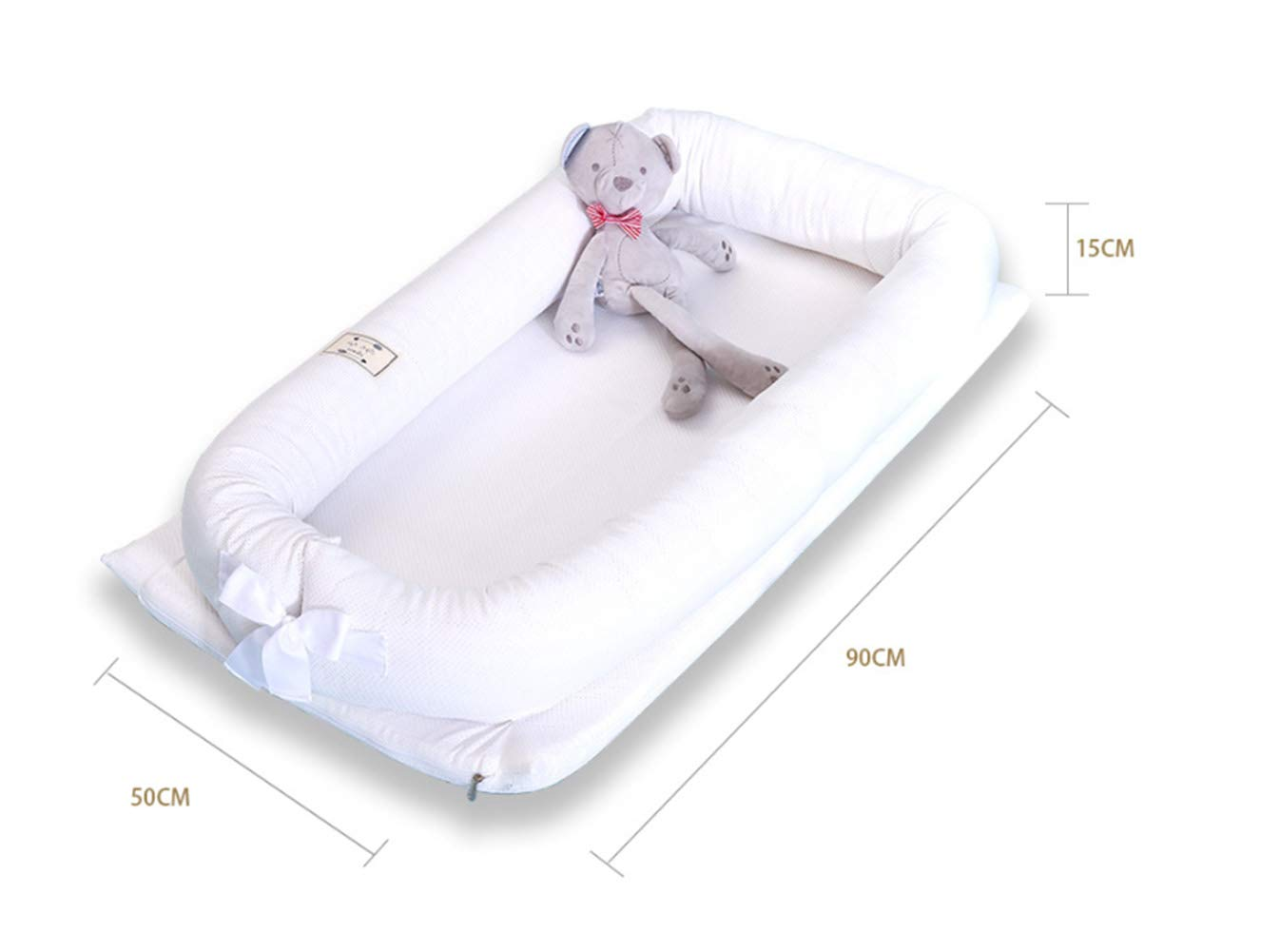 LNDD-Bionic Uterine Bed Baby Lounger 2 in 1 Sleeping Nest Pods Travel Bumpers Cradle Mattresses Suitable for Newborn Children Aged 0-1,White LNDD ★BABY COT: refreshing breathable, stretch fabric, fence protection, bionic design ★REMOVABLE: The jacket has a zipper design, and the refreshing installation is more worry-free. ★SIZE: length 99cm * width 55cm * height 15cm (suitable for 0-1 pairs of babies). 2