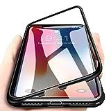 WindCase iPhone X Hülle, Hybrid Metall Aluminium Bumper mit Magnetplatte +Transparent Gehärtetes Glas Rückschale 360 Grad Schutzhülle für iPhone X Schwarz [mit Panzerglas Schutzfolie]