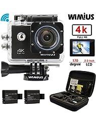 Caméra Sport Wifi 4k HD 16MP Etanche 40M WiMiUS Q1 Action Caméra Embarquée Grand Angle 170°Kit d'accessoires + 2 Batteries + Etui de Transport (Noir)