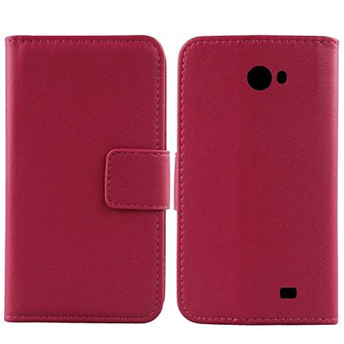 Gukas Design Echt Leder Tasche Für Kazam Trooper 2 5.0 Hülle Handy Flip Brieftasche mit Kartenfächer Schutz Protektiv Genuine Premium Case Cover Etui Skin Shell (Rosa)