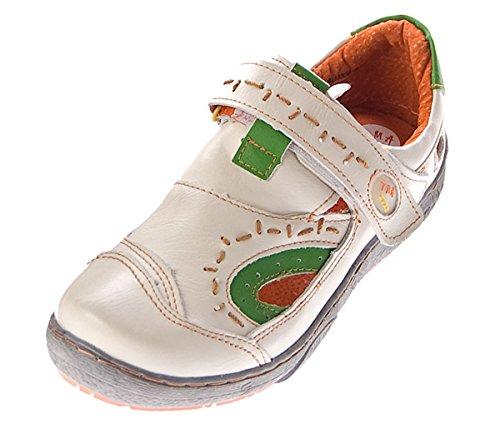 Leder Schuhe Damen Sandalen Halbschuhe TMA Sandaletten Klettverschluss Schwarz Gr眉n Blau Weiss im Used Look Wei