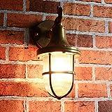 Premium Außenwandleuchte Messing echt rostfrei rustikal massiv Rillenglas Käfigschirm Wandlampe Terrasse Hauswand - 4