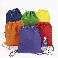 Large Bright Canvas Drawstring Backpacks (1 Dozen) Bulk [Toy]