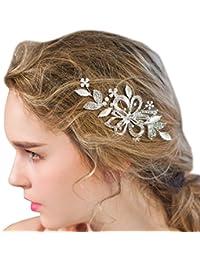 Horquilla para el cabello de novia hecha a mano en color plateado con piedras de cristal, flores y perlas; accesorios de boda para el cabello