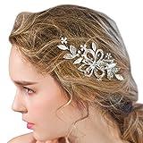 Bridal Hair La main Argent Clips Strass Perles Fleurs Accessoires Cheveux de Mariage