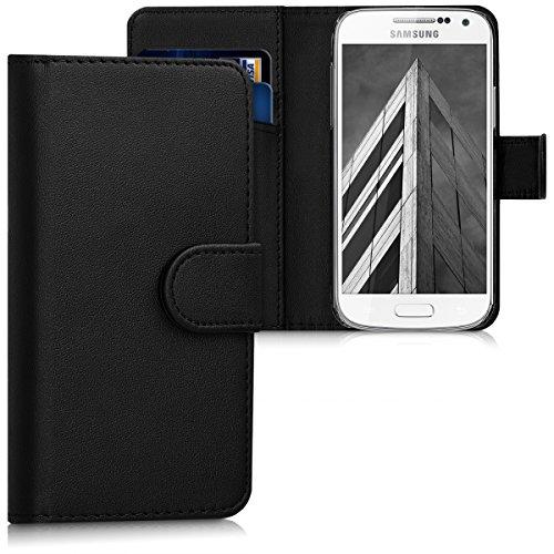 S4 Für Handy-hülle Galaxy Ein (kwmobile Hülle für Samsung Galaxy S4 Mini i9190 / i9195 - Wallet Case Handy Schutzhülle Kunstleder - Handycover Klapphülle mit Kartenfach und Ständer Schwarz)