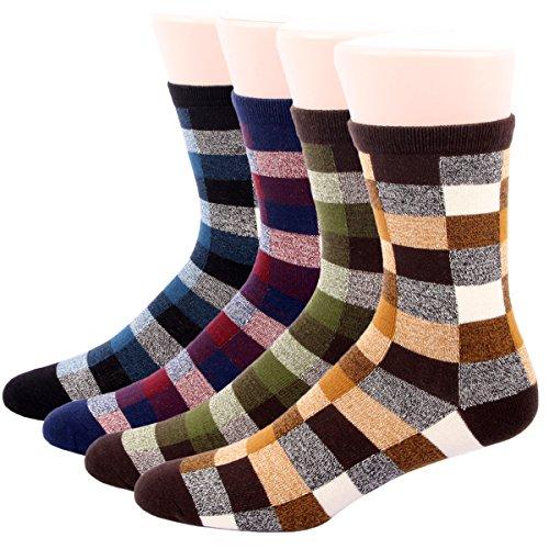 RioRiva Herren Business Socken Berufssocken Arbeitssocken Anzugsocken Karo Socke Für Männer (BSK02 4Paar ) (Weiße Rüschen Korsett)