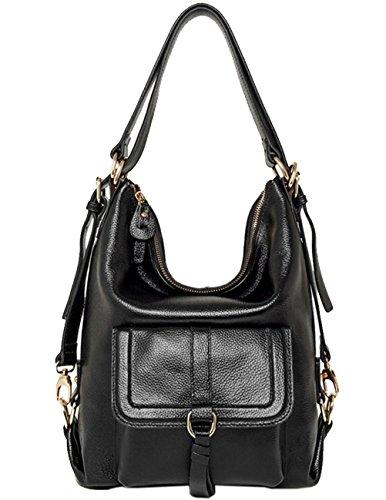 Menschwear Lady Genuine Leather Backpack moda di scuola della spalla dello zaino della Donne Bag Marrone Nero
