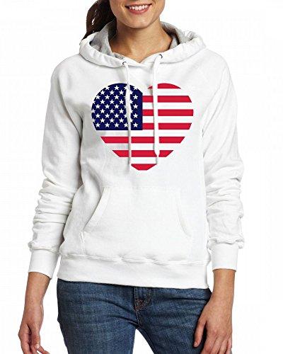 America heart Womens Hoodie Fleece Custom Sweartshirts white