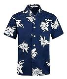 Herren Hawaii Hemd Kurzarm Flamingos Aloha Party Shirt Palm Beach Shirts EHS016-S