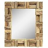Dekorativer Spiegel mit Holzrahmen Mosaik Wandspiegel aus Thailand Massiv Holz-Spiegel Dekospiegel ca. 30 x 35 cm Nr. 11