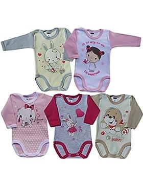 MEA BABY Unisex Baby Langarm Body aus 100% Baumwolle im 5er Pack, Baby Langarm Body mit Aufdruck, Baby Langarm...