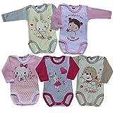 MEA BABY Unisex Baby Langarm Body aus 100% Baumwolle im 5er Pack, Baby Langarm Body mit Aufdruck, Baby Langarm Body für Mädchen, Baby Langarm Body für Jungen. (62, Mädchen)