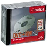 DVD+RW Re-writable, 4.7GB/120 Minutes, Silver, Jewel Case, 5/Pack IMN16804