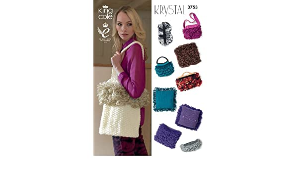 afca27a93c15 King Cole Krystal Knitting Pattern Accessories Selection - Bags ...
