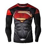 Born2RideTM Shirt im Superheld-Kostüm für Fitnessstudio/Radsport, Compression Baselayer T-Shirt mit kurzen Armen für Herren Gr. S, New Man of steel Red/Black