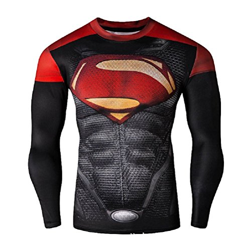 Born2RideTM Shirt im Superheld-Kostüm für Fitnessstudio/Radsport, Compression Baselayer T-Shirt mit kurzen Armen für Herren Gr. S, New Man of steel Red/Black