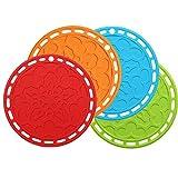 Dupeakya Silikon Untersetzer Rund Spülmaschinenfest, Küche Topflappen Set für Töpfe und Pfannen Hitzebeständig bis zu 260°C/500°F Topf-Untersetzer Teller Matten (4 Stück) Orange/Grün/Blau/Rot