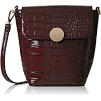 SwankySwansTrudi Gold Patent Leather Shoulder Bag Burgundy