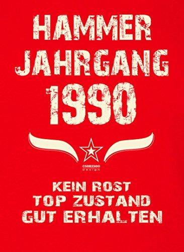 Geschenk zum 27. Geburtstag :-: GeschenkIdee Herren Geburtstags-Sprüche-T-Shirt mit Jahreszahl :-: Hammer Jahrgang 1990 :-: Jubiläumsgeschenk :-: Farbe: rot Rot