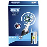 Oral-B Pro 2 2500 CrossAction Electric Toothbrush Rechargeable Powered by Braun, 1 Black Handle, 2 Modes Including Gum Care, 1 Toothbrush Head, Travel Case, 2-Pin UK Plug